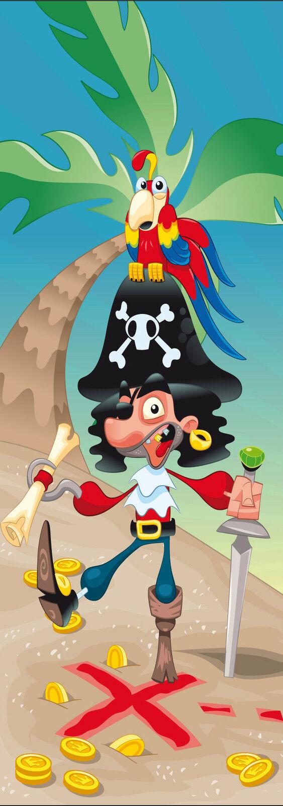 Aufkleber Kind Pirat für Tür Flach oder Wand Ref 712