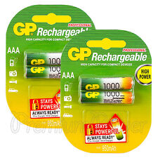 4 x GP Rechargeable AAA batteries 1000 mAh NiMH LR03 DX2400 Phone DTC Pack of 2