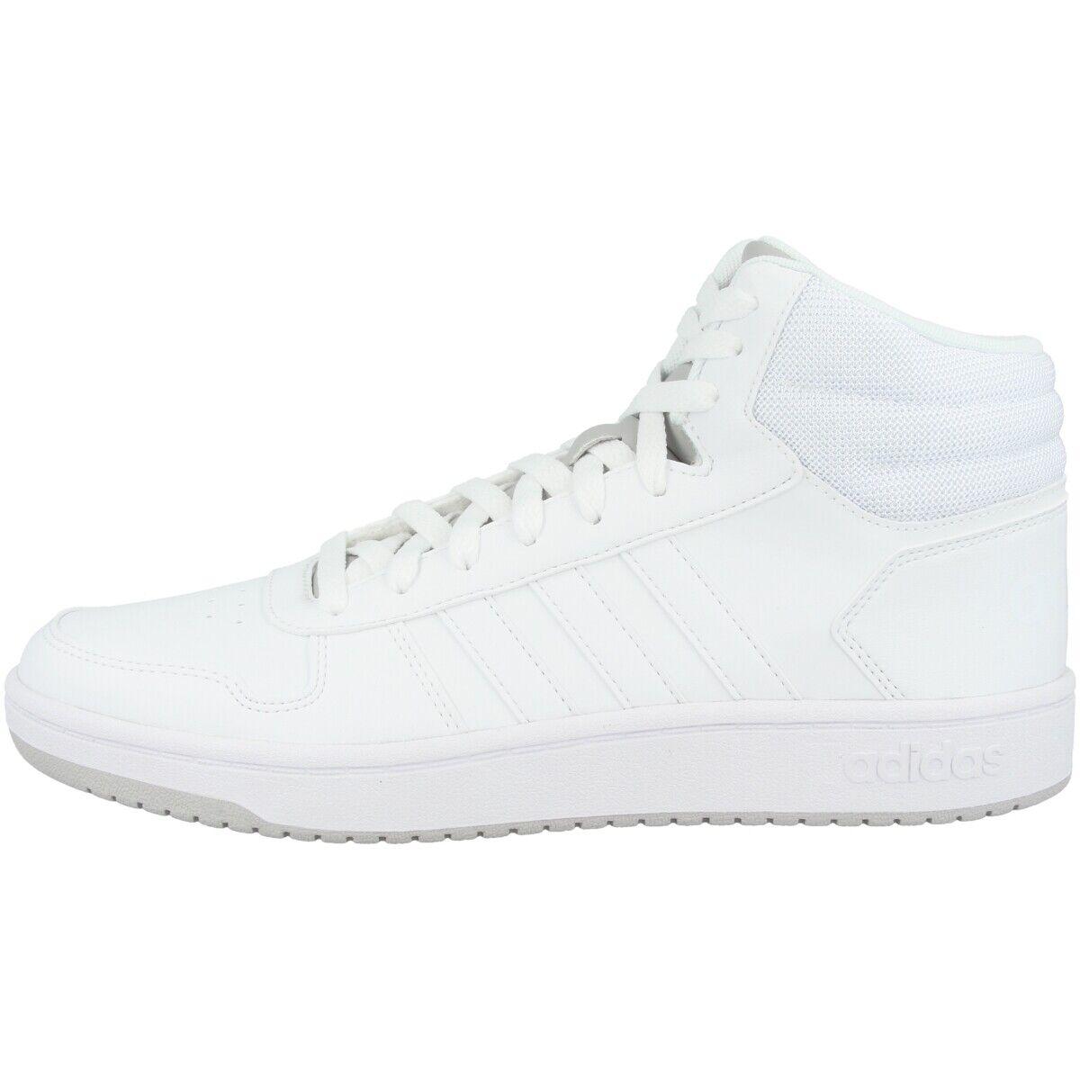 Adidas Hoops 2.0 Mid Schuhe Men Herren Freizeit Retro Turnschuhe Weiß grau F34813