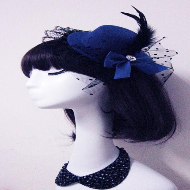 Bow Hair Clip Feather Lace Fascinator Burlesque Party Mini Top Hat Punk Dress