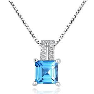 Silberkette-mit-Anhaenger-925-Sterling-Silber-Blau-Topas-VVS-Rhodiniert-Halskette