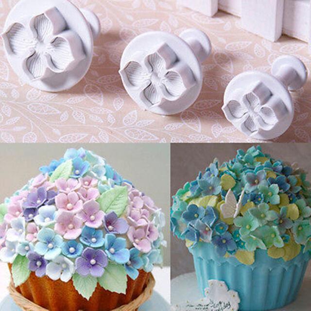 3pcs Hydrangea Fondant Cake Decorating Sugarcraft Plunger Cutter