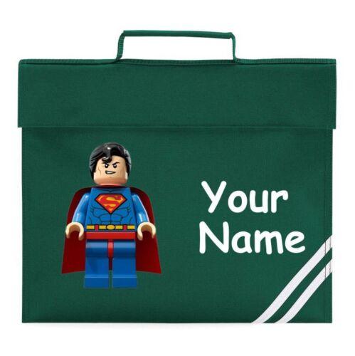 Personalised lego superman school  Book Bag Reading Library Folder homework