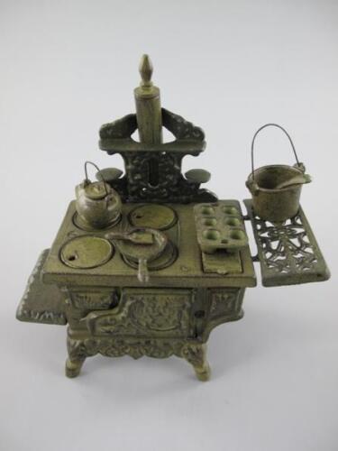 Kinder Ofen Kochmaschine Eisenguss Spielzeug Nostalgie rustik braun H.29cm