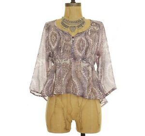 Band-Of-Gypsies-Urban-Outfitters-Top-XS-S-M-Babydoll-Peasant-Pink-Brown-NEW-B47