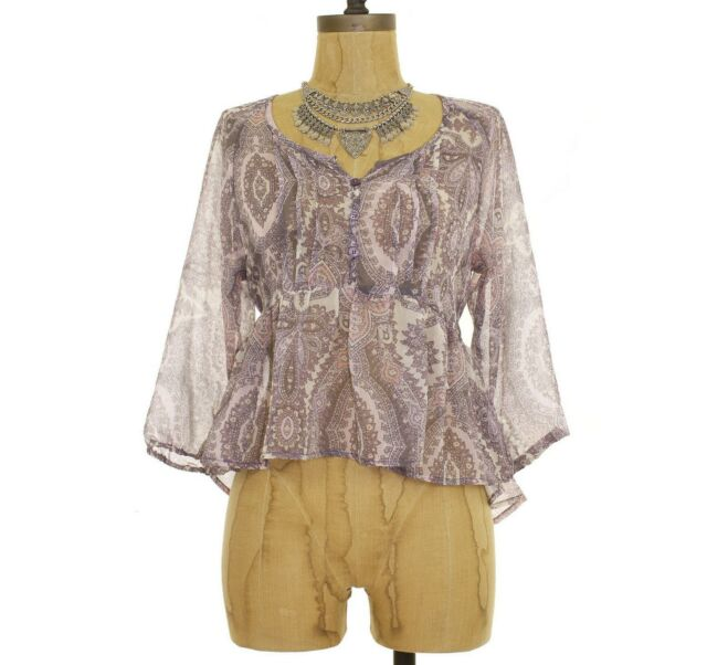 Band Of Gypsies Urban Outfitters Top XS S M Babydoll Peasant Pink Brown NEW B47