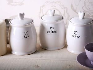 Image Is Loading Charm White Tea Coffee Sugar Jars Kitchen Side