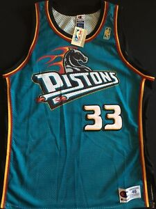 finest selection d80ea 74197 Details about Champion Grant Hill Green Pistons Authentic Jersey Size 48 XL  New Tags Gold Logo