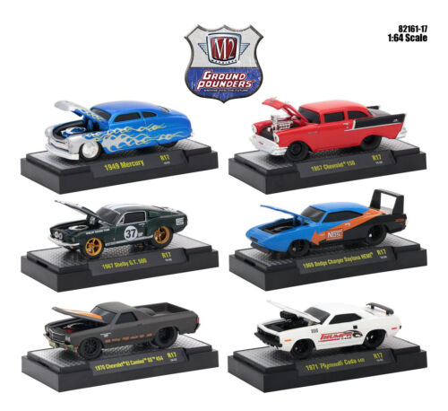 GROUND POUNDERS 6 CARS SET RELEASE 17 W/CASES 1/64 CARS BY M2 MACHINES 82161-17