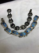 SIAM STERLING SILVER NIELLO ELEPHANT BLACK GODDESS BLUE ENAMEL FAN BRACELET LOT