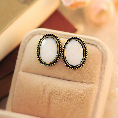Fashion Lovely Jewelry Vintage Style Big Rhinestone Elliptic Earrings Ear Stud