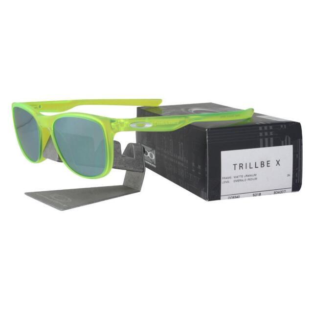 57b275736d4 Oakley OO 9340-07 TRILLBE X Matte Uranium Emerald Iridium Lens Mens  Sunglasses