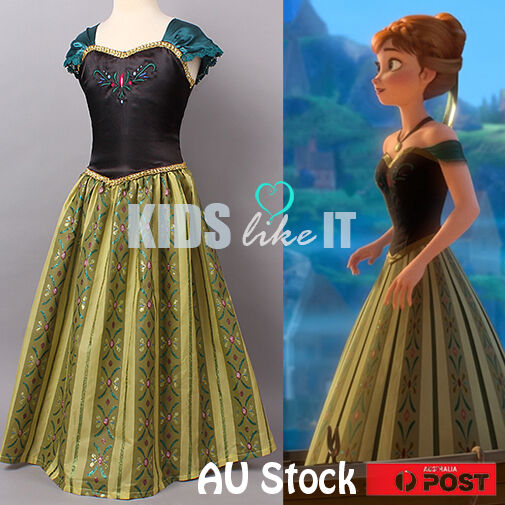 Girls Disney Frozen Princess Anna Elsa Costume Party Dress Birthday GIFT 3-10y