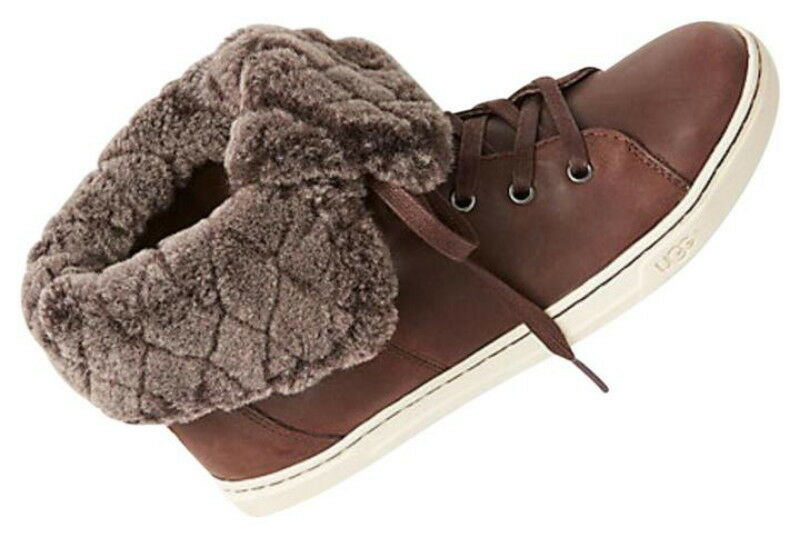 $ 150 Ugg Valódi Shearling High Top Sneakers 6.5 - 7.5 Espresso Barna cipő NIB