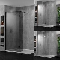 Aquadart Wetroom Walk-in Shower Panels 10mm Glass Bathroom Chrome Black Copper