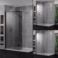 Aquadart Wetroom Walk-in Shower Panels 10mm Glass Bathroom Chrome Black Copper