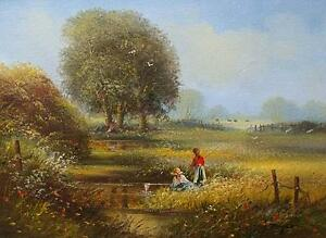 Ted-Dyer-Original-Oil-Painting-Rural-Countryside-Landscape-With-Children-Fishing