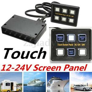 12v 24v capacitive touch screen switch panel car marine boat circuit control box ebay. Black Bedroom Furniture Sets. Home Design Ideas