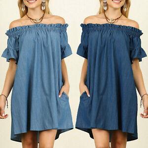 Women Off One Shoulder Dress Summer Short Sleeve Bardot Denim Casual ... be0c704116