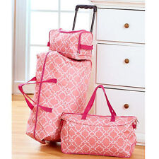 Kids Luggage Sets For Girls Teens Women Cute Tote Toiletry Duffel Bag Pink White