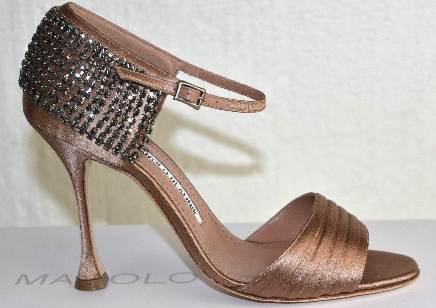 1215 Manolo Blahnik SIDINA Satin NUDE Crystals  Pumps scarpe 37 38.5 39 39.5 40  Garanzia di vestibilità al 100%