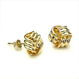 9ct-Gold-8mm-Knot-Stud-Earrings-Yellow-Rose-White-Multi-Coloured