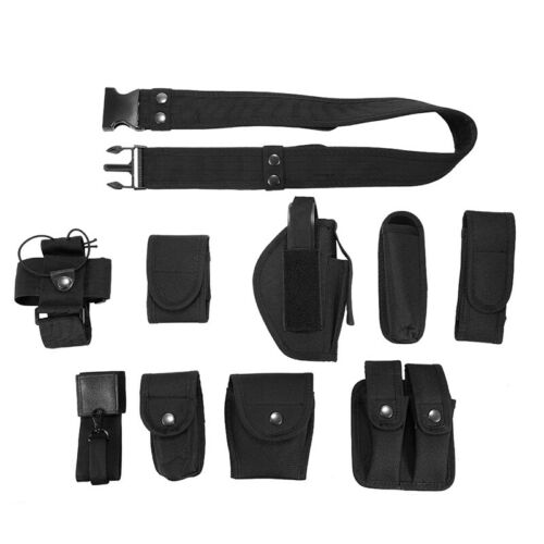 Police Guard Tactical Belt Buckle With 9 Pouch Utility Kit Security System Nylon