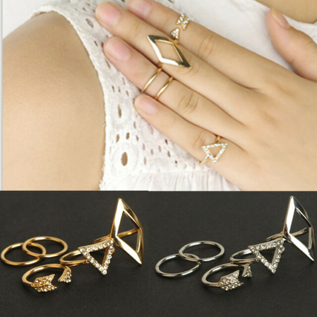 5pcs Women Girls Midi Finger Ring Punk Above Knuckle Band Ring Set Jewelry Gift