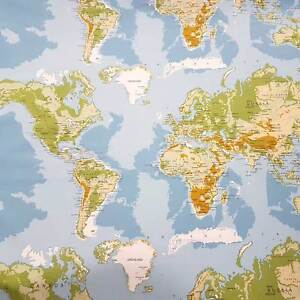 Karte Erde.Details Zu Stoff Meterware Baumwollstoff Weltkarte Hellblau Grün Erde Karte Kontinente Neu
