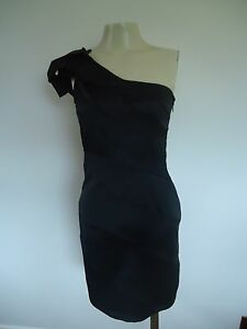 LADIES-LIPSY-ONE-SHOULDER-BLACK-DRESS-SIZE-8-UK