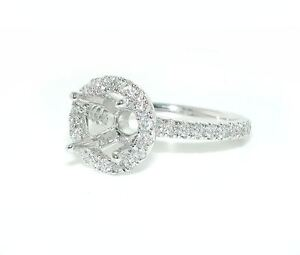 1-CT-Round-Halo-Single-Shank-DIAMOND-Mounting-Ring-Setting-14K-White-Gold
