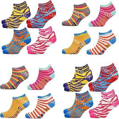 Ladies Trainer Socks Funky Designs Girls Sports Shoe Liners Womens 6 Pairs