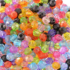500-Neu-Mix-Rund-Facettiert-Acryl-Spacer-Schliffperlen-Beads-6x6mm