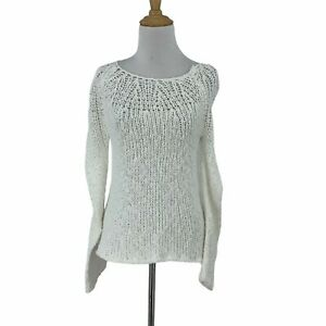 Theory-Open-Crochet-Knit-Sweater-Women-039-s-Size-P-XS-Fitted-White-Long-Sleeve-Top