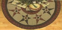 Primitive Country Star Quilted Christmas Tree Skirt Approx. 48 D Tea Dyed