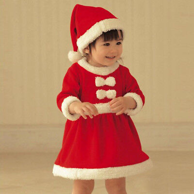 Toddler Kids Girls Set Christmas Clothes Costume Party Dresses+Shawl+Hat Outfit