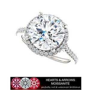 5-00-Carat-DEF-VVS1-Moissanite-Hearts-amp-Arrows-Halo-Style-Ring-in-14k-Gold