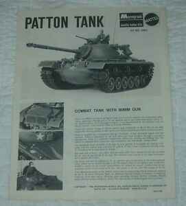 Details about MONOGRAM PATTON TANK MODEL KIT INSTRUCTIONS ONLY 1966 6863