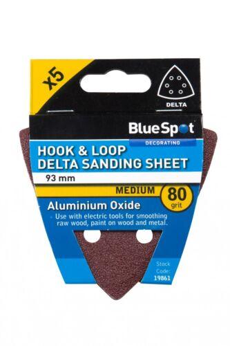 5pk 90mm Hook /& Loop Velcro Delta Triangle Sanding Pad Sheet 80 Grit