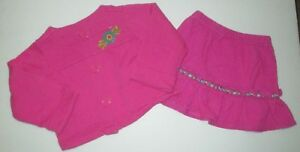 GIRLS-HANNA-ANDERSSON-HOT-PINK-CORDUROY-SKIRT-amp-JACKET-SET-OUTFIT-SIZE-12-24-MON