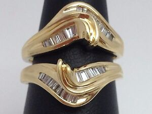 14k Yellow Gold Baguette Diamond Ring Guard Wrap