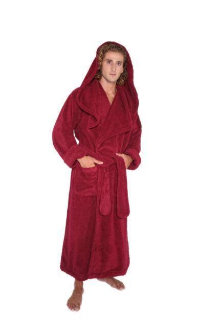 Mens Hooded Full Length Long Turkish Terry Cotton Monk Bathrobe Luxurious Robe