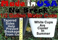 12 Black Or White Hanging 1/2 Gallon Water Cups Gamefowl Rabbit Chicken Poultry