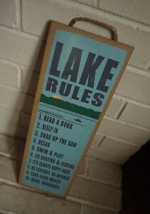 LAKE RULES - Go Boating & Fishing - Lodge Log Cabin Home Decor LARGE Sign - NEW