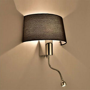 Modern Fabric Shade Wall Sconces Led Living Room Bedroom Switch Wall Lamp Ebay