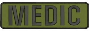 MEDIC-Embroidery-Patches-3x10-hook-black-and-od-green