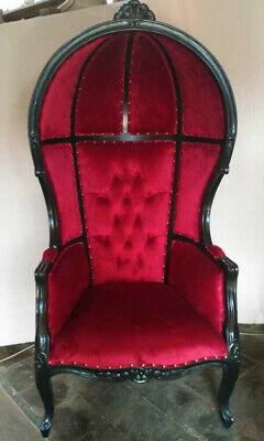 Black Finish Porter Chair W Red Velour Balloon Bonnet Canopy Dome Throne Ebay