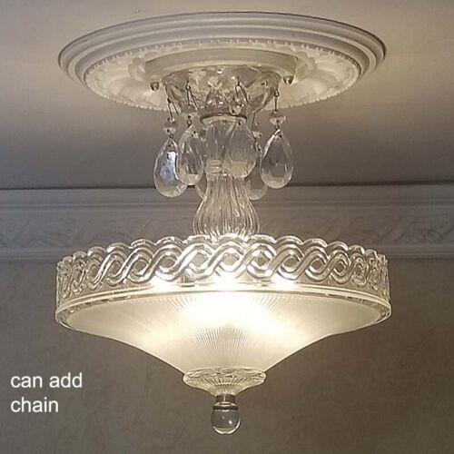 530b Vintage Antique Glass Ceiling Lamp Light Fixture chandelier 3 Lights 1 of 2
