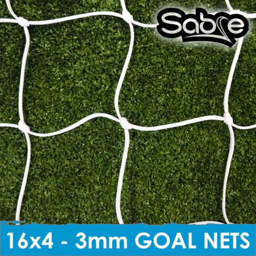3 mm Knotted Football Goal Nets 5ASide 16ft X 4ft 3mm Knotted Nets.