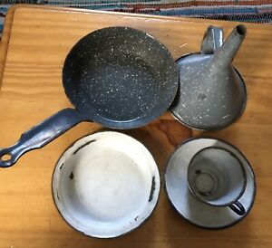 Vintage-Enamel-Cast-Metal-Bargeware-Cooking-Pots-Pans-Frying-Funnel-Cup-Saucer